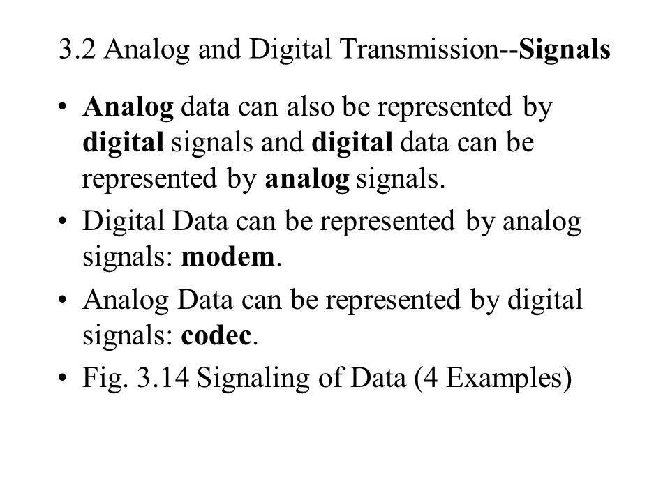 3.2 Analog and Digital Transmission--Signals