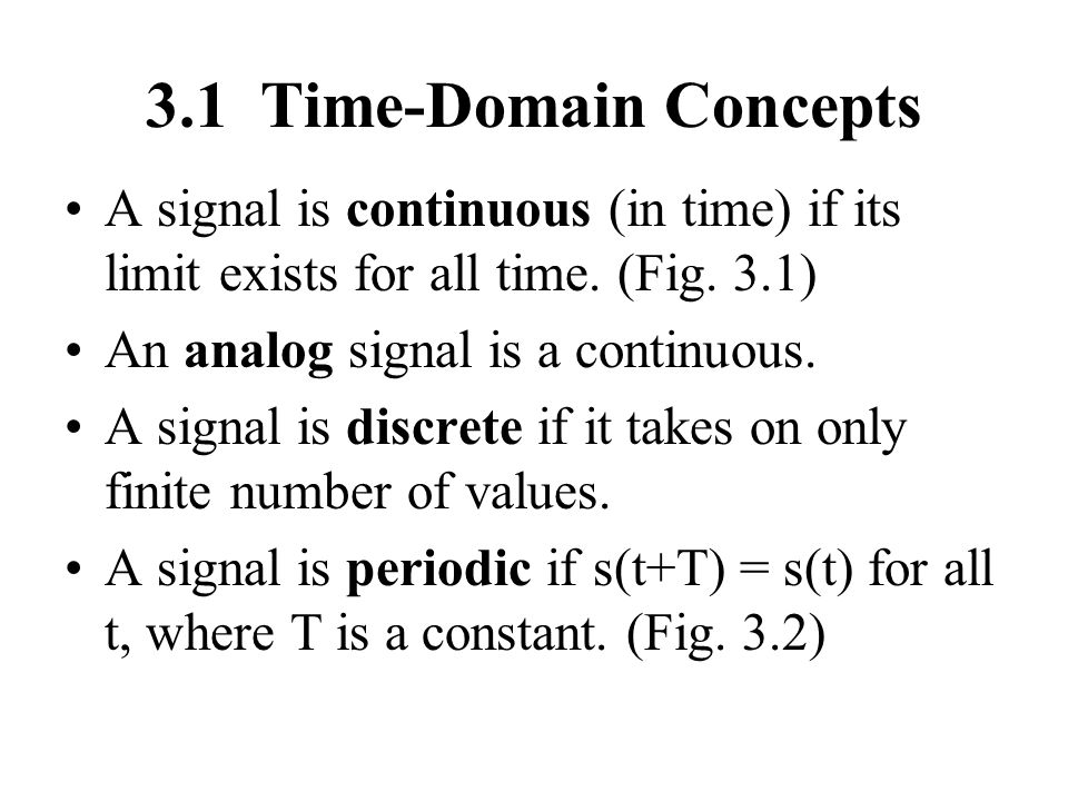 3.1 Time-Domain Concepts A signal is continuous (in time) if its limit exists for all time. (Fig. 3.1)