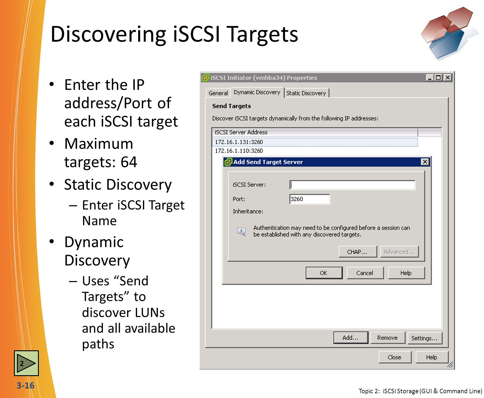 Discovering iSCSI Targets