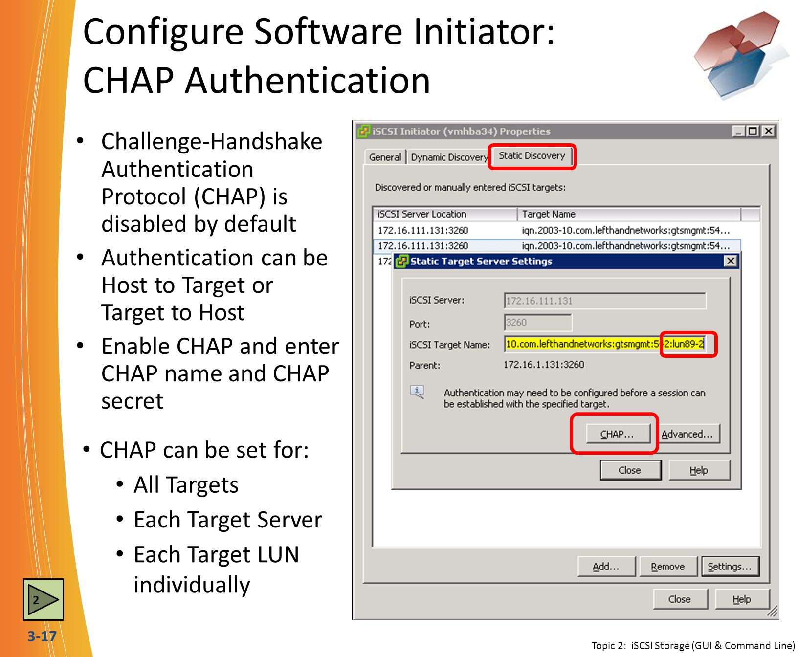 Configure Software Initiator: CHAP Authentication