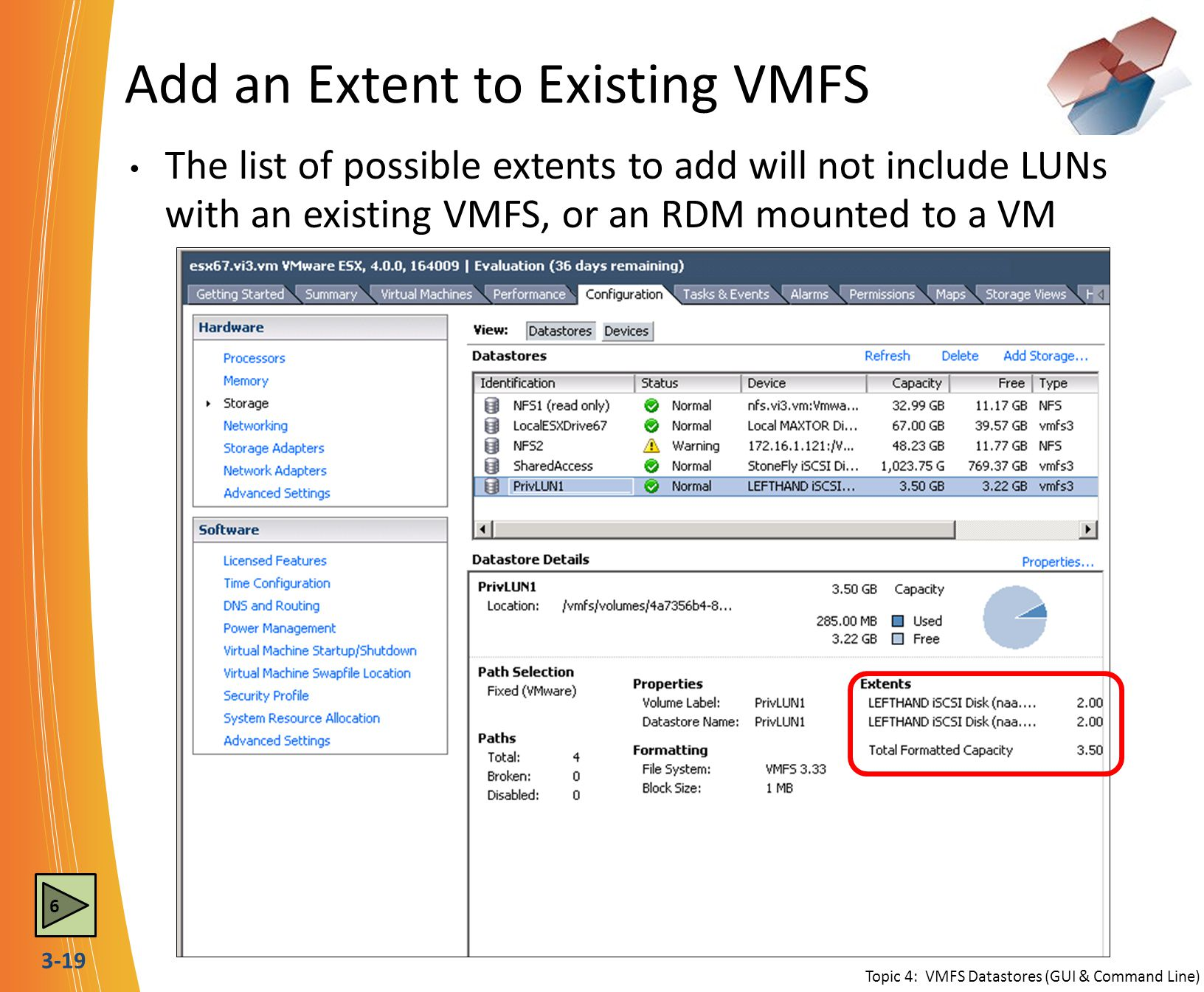 Add an Extent to Existing VMFS