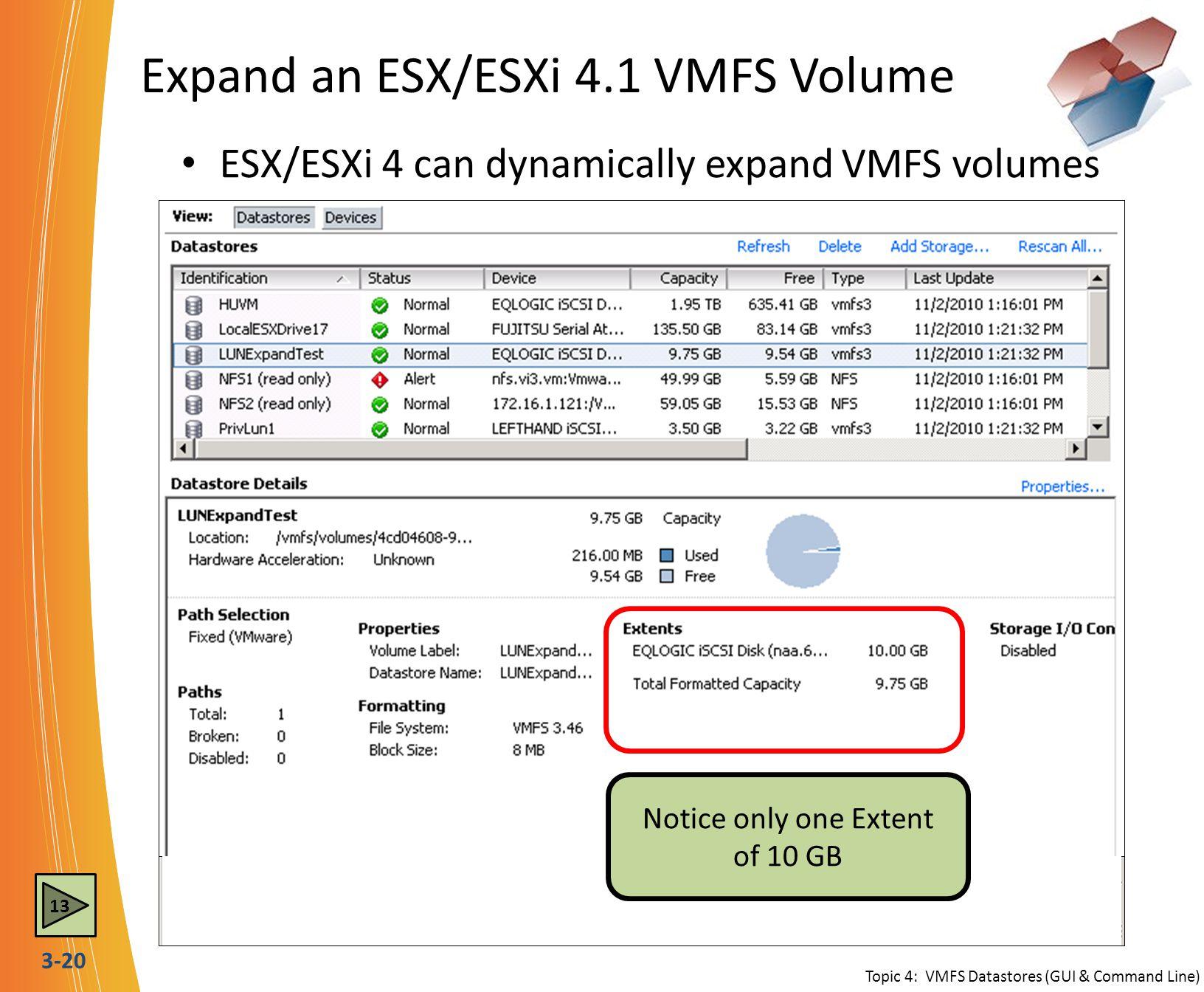 Expand an ESX/ESXi 4.1 VMFS Volume