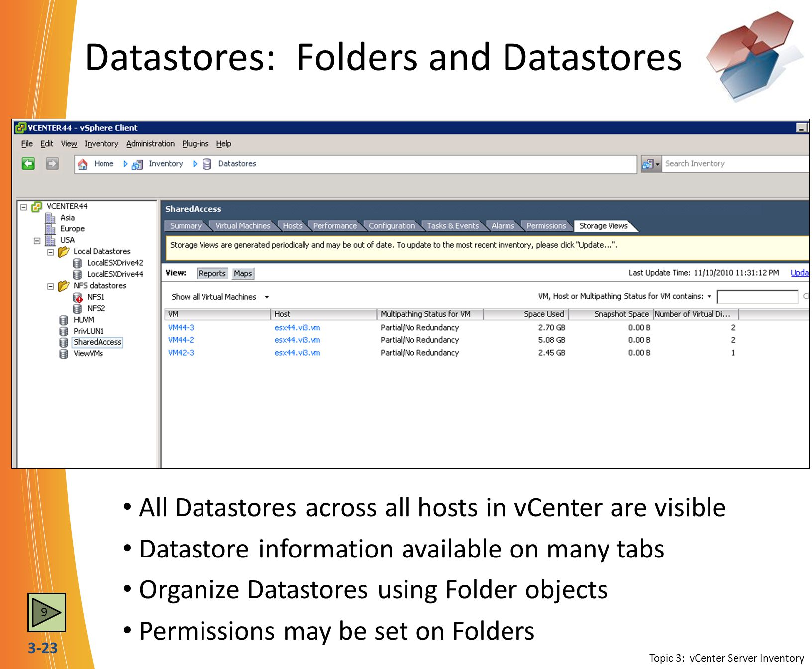 Datastores: Folders and Datastores