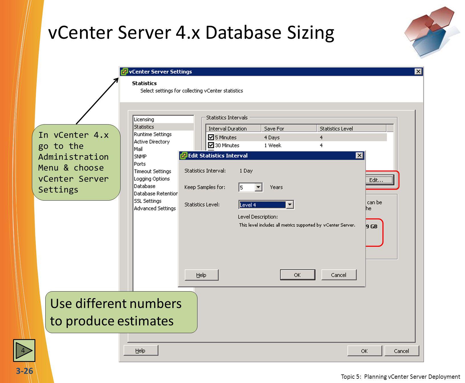 vCenter Server 4.x Database Sizing