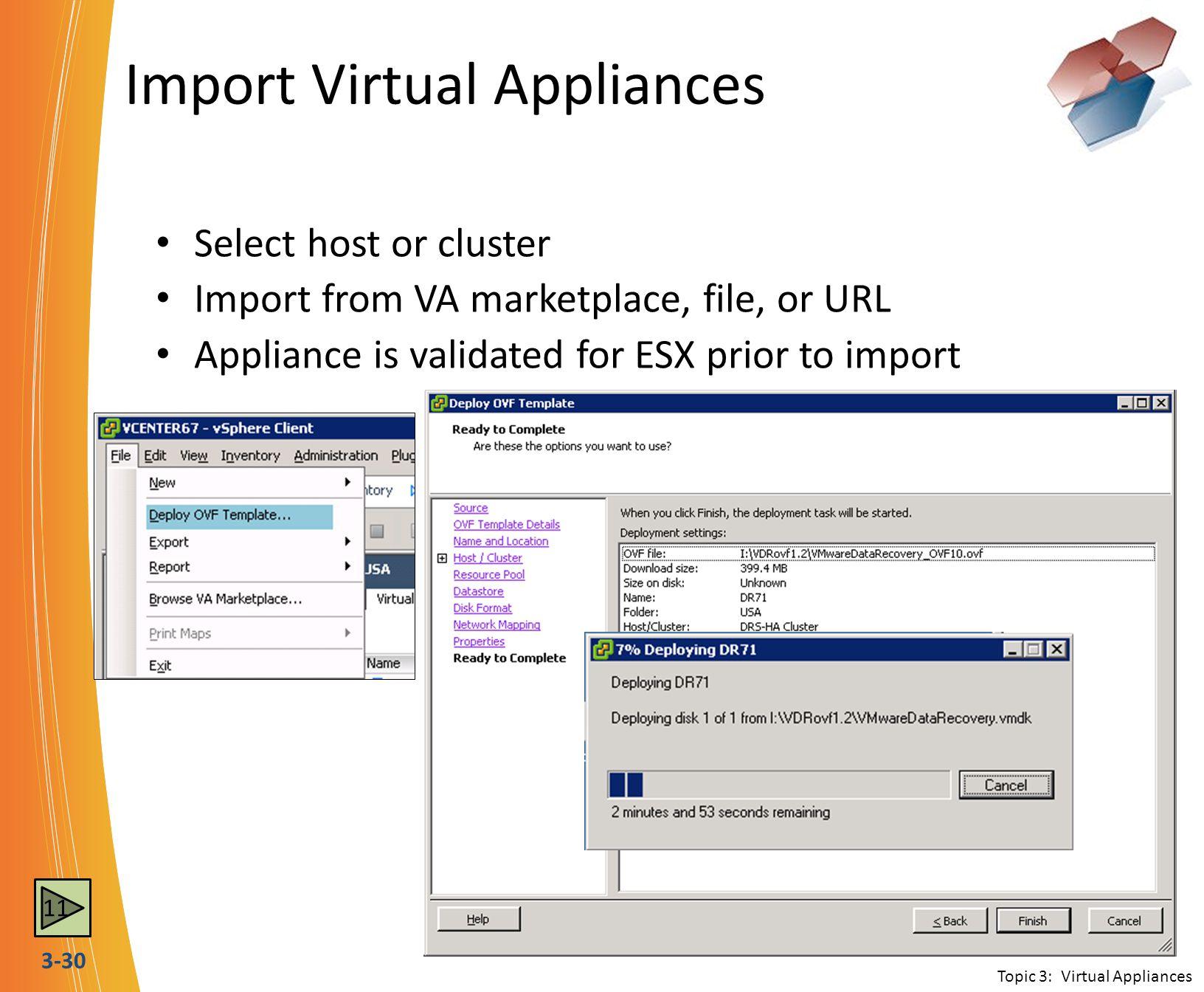 Import Virtual Appliances