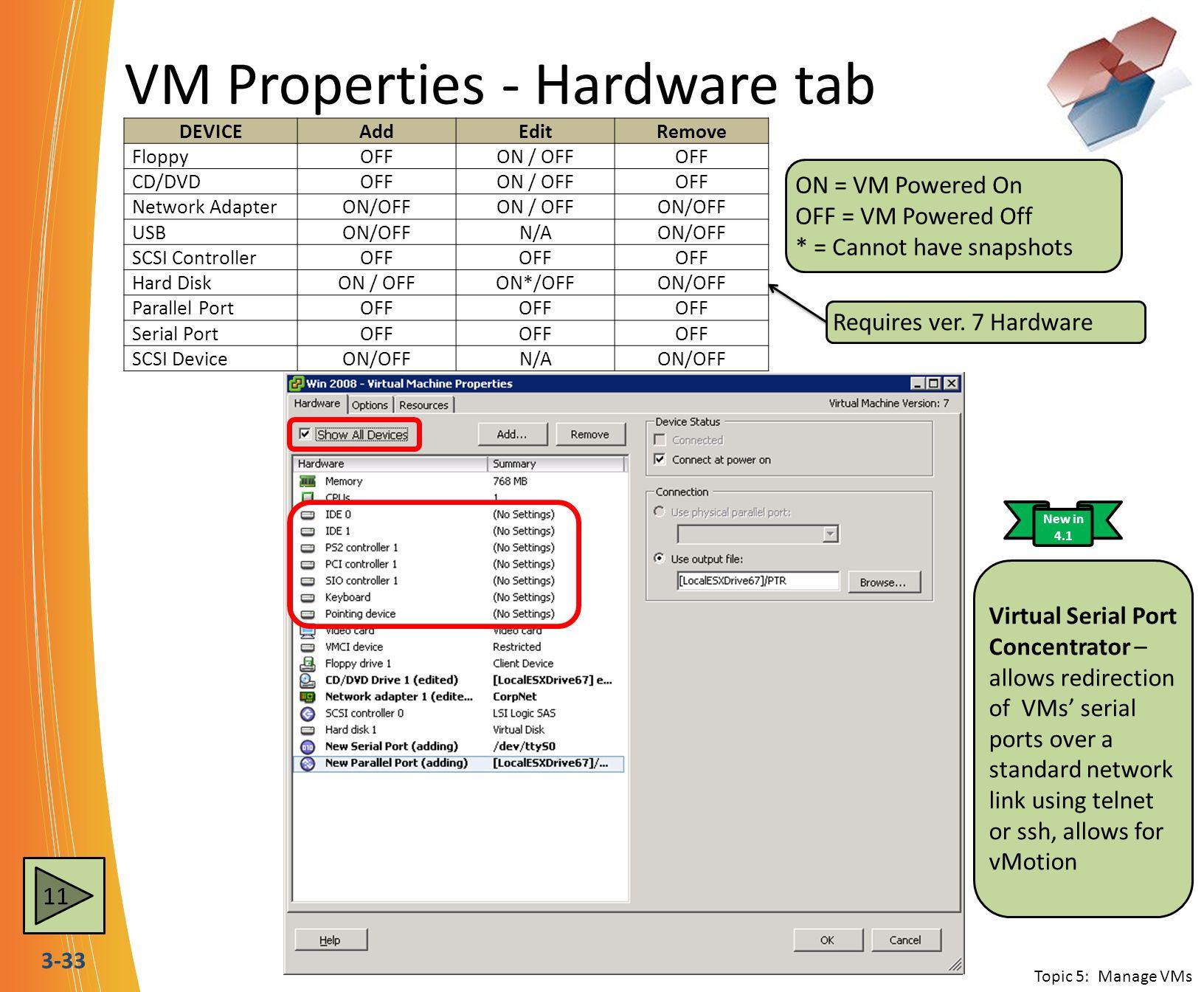 VM Properties - Hardware tab