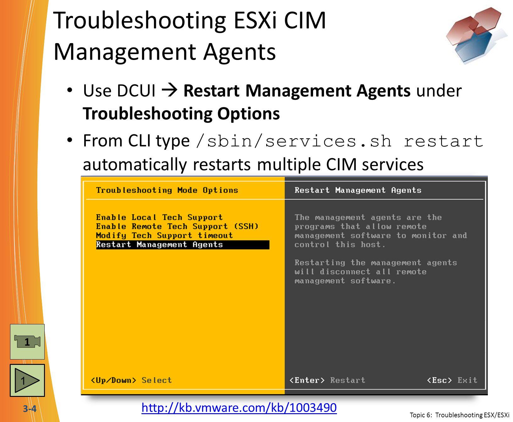 Troubleshooting ESXi CIM Management Agents