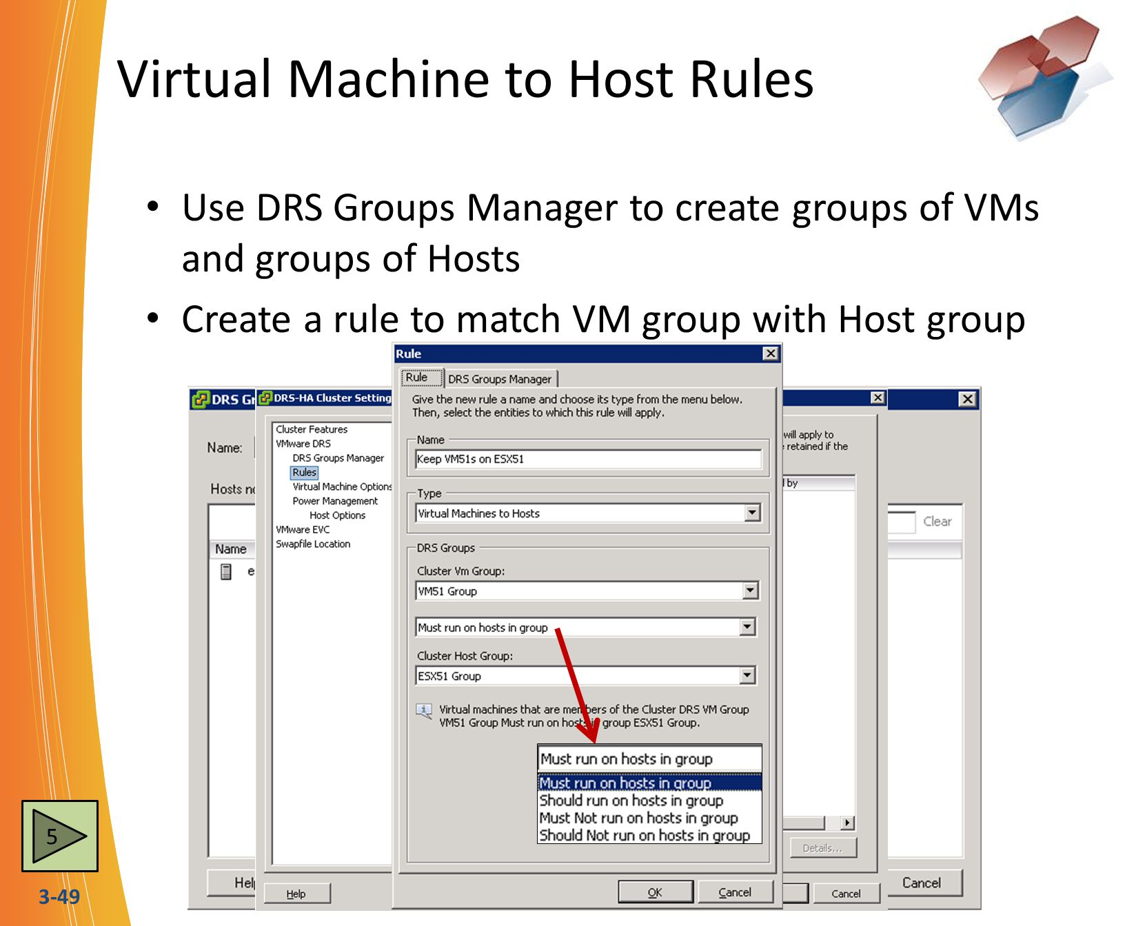 Virtual Machine to Host Rules