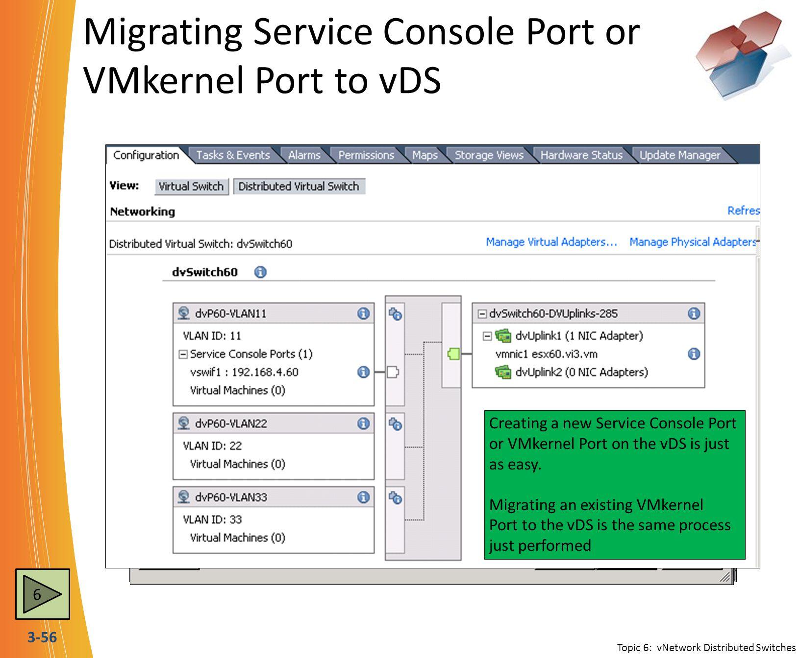 Migrating Service Console Port or VMkernel Port to vDS