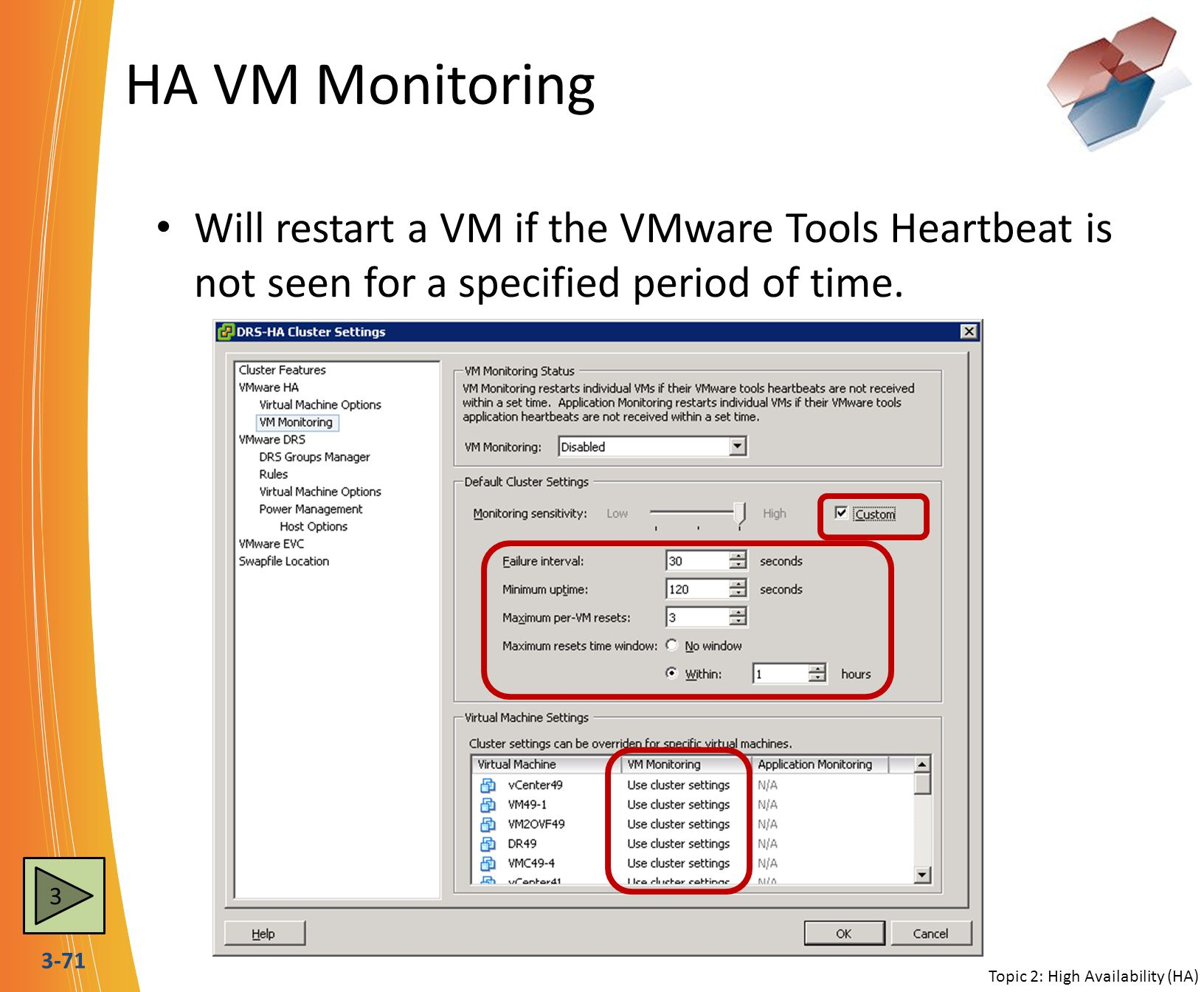 HA VM Monitoring Will restart a VM if the VMware Tools Heartbeat is not seen for a specified period of time.