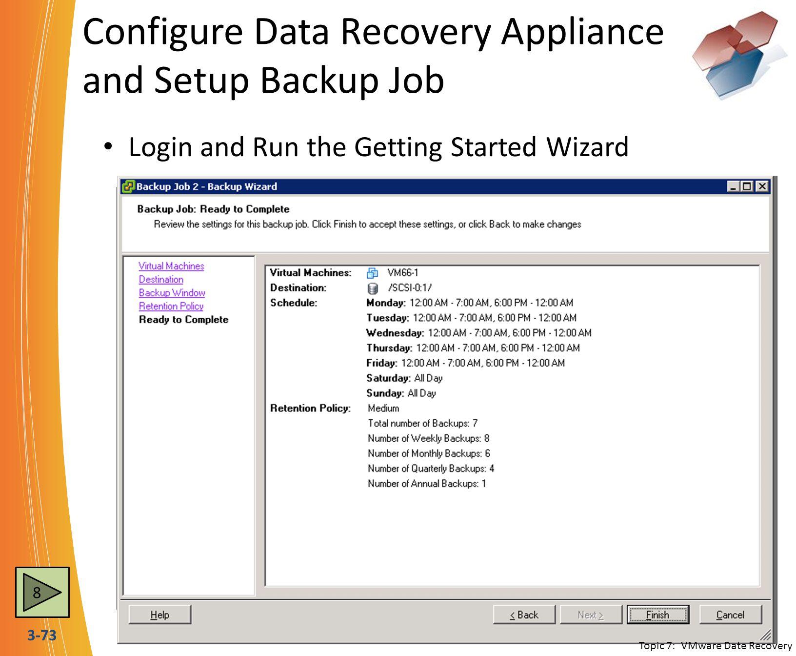 Configure Data Recovery Appliance and Setup Backup Job