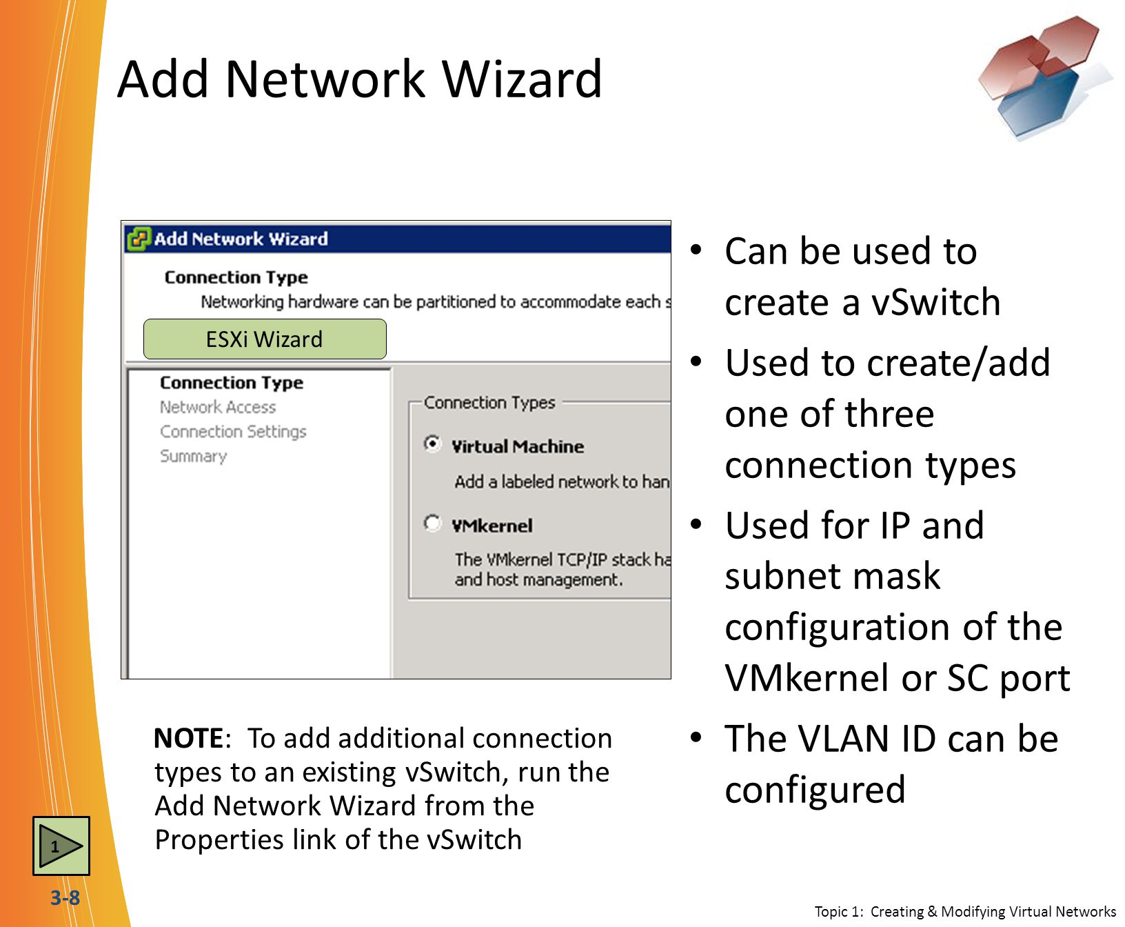 Add Network Wizard Can be used to create a vSwitch