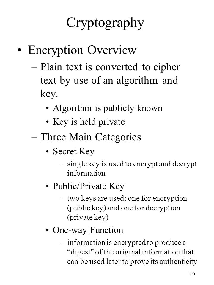 Cryptography Encryption Overview