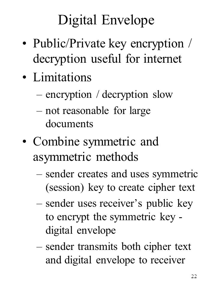 Digital Envelope Public/Private key encryption / decryption useful for internet. Limitations. encryption / decryption slow.