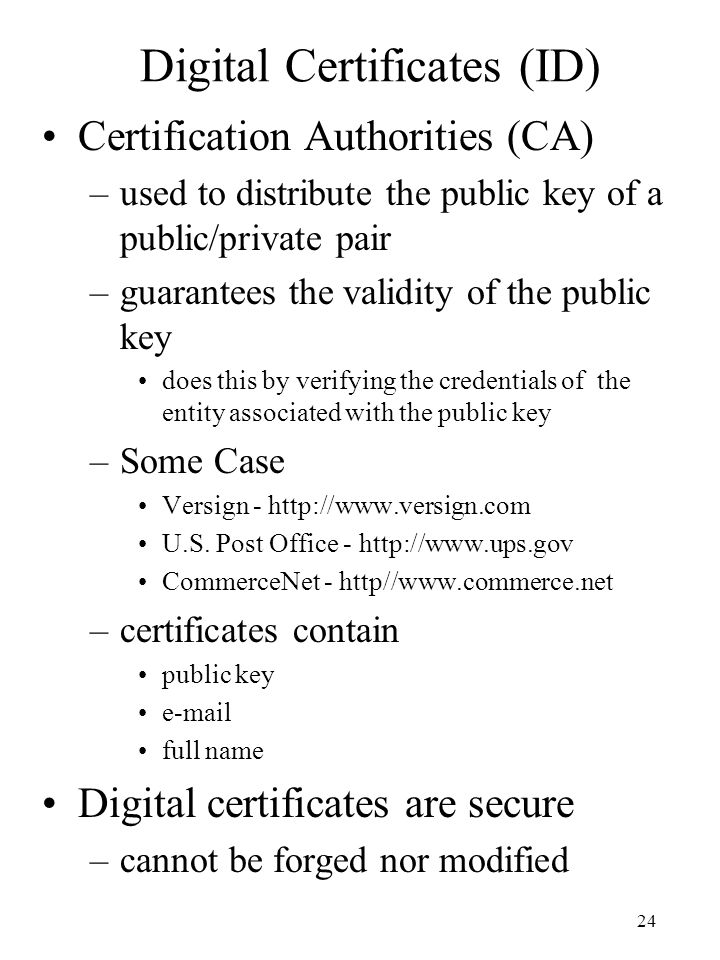 Digital Certificates (ID)