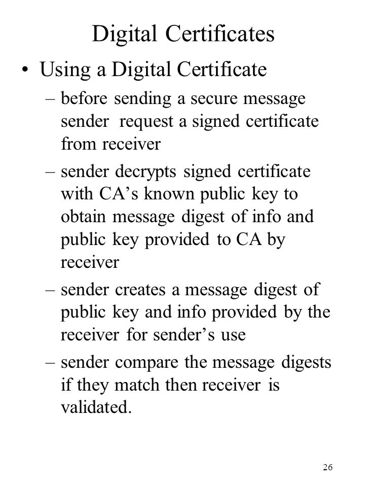 Digital Certificates Using a Digital Certificate