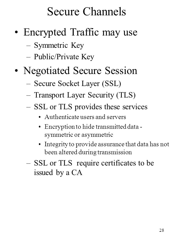 Secure Channels Encrypted Traffic may use Negotiated Secure Session