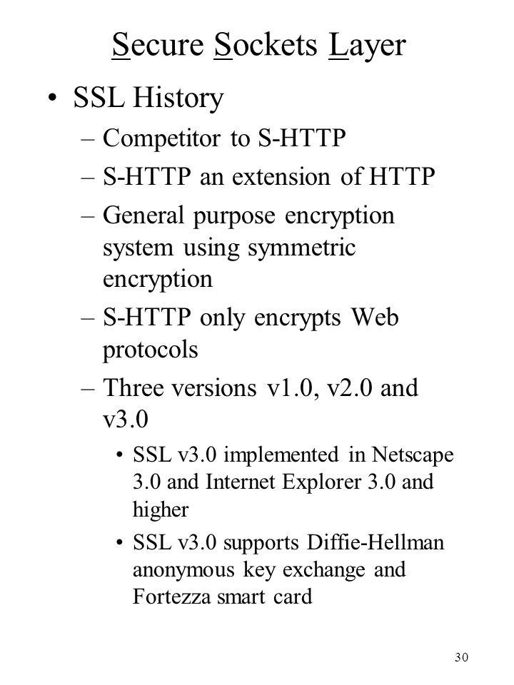Secure Sockets Layer SSL History Competitor to S-HTTP