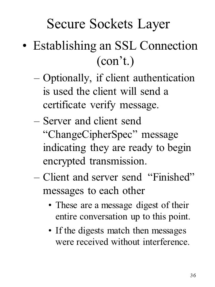 Establishing an SSL Connection (con't.)