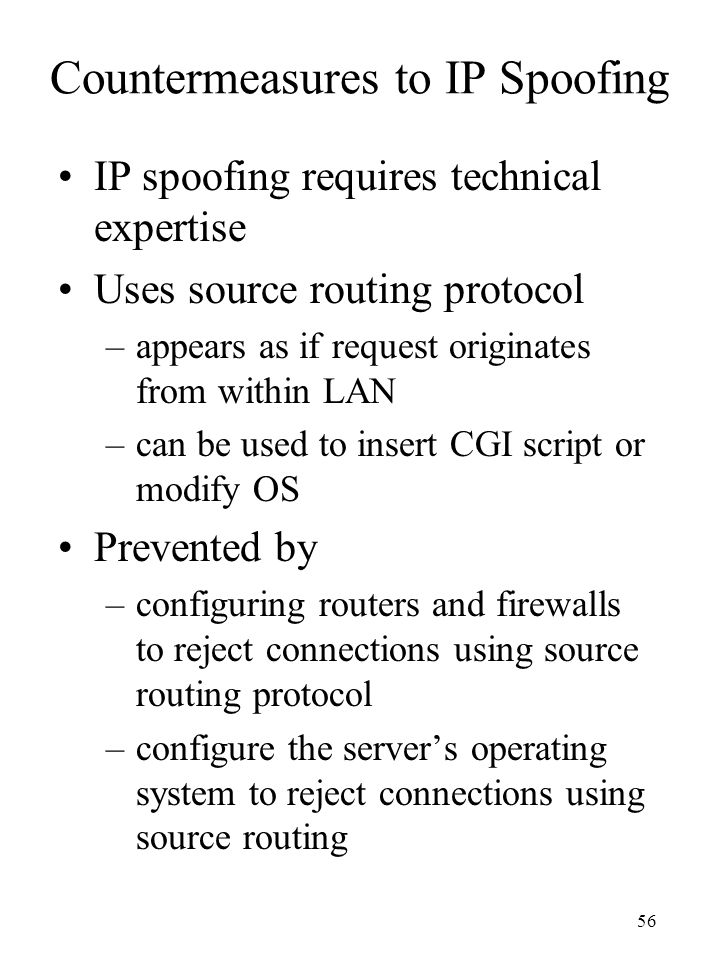 Countermeasures to IP Spoofing