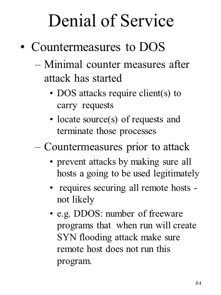 Denial of Service Countermeasures to DOS
