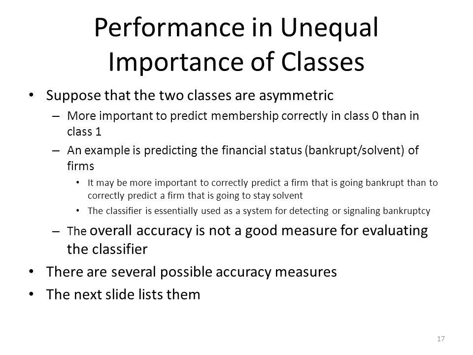 Performance in Unequal Importance of Classes