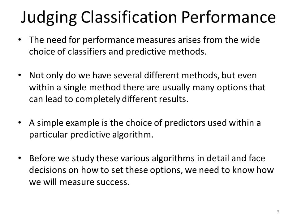 Judging Classification Performance