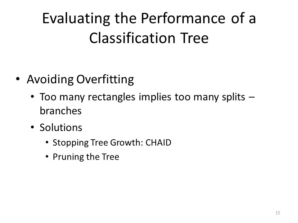 Evaluating the Performance of a Classification Tree