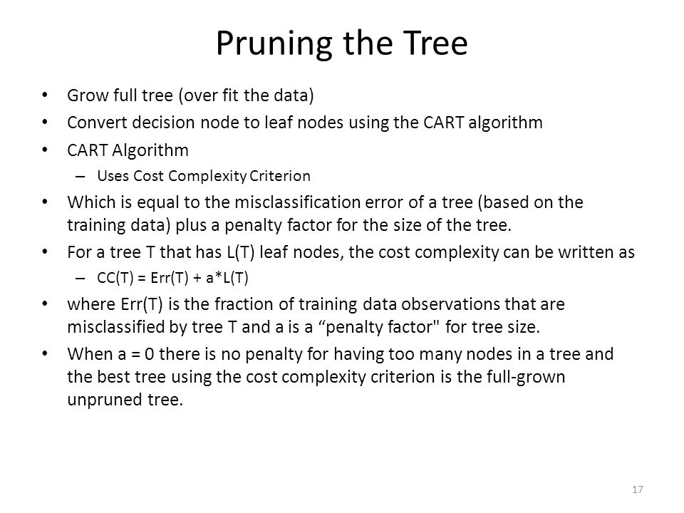 Pruning the Tree Grow full tree (over fit the data)