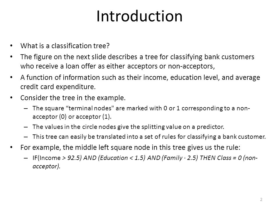Introduction What is a classification tree