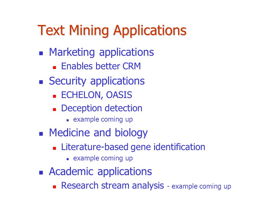 Text Mining Applications