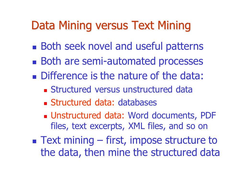 Data Mining versus Text Mining