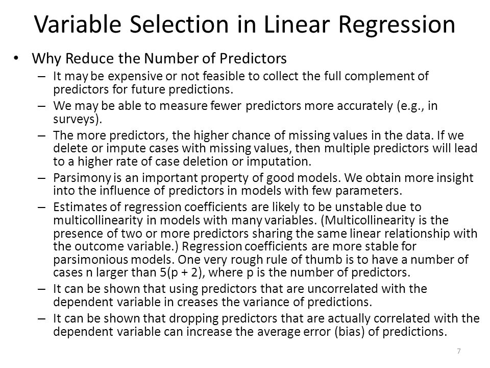 Variable Selection in Linear Regression