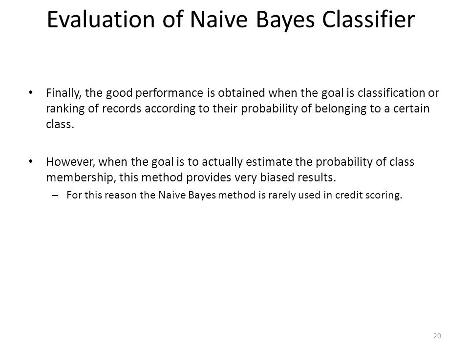 Evaluation of Naive Bayes Classifier