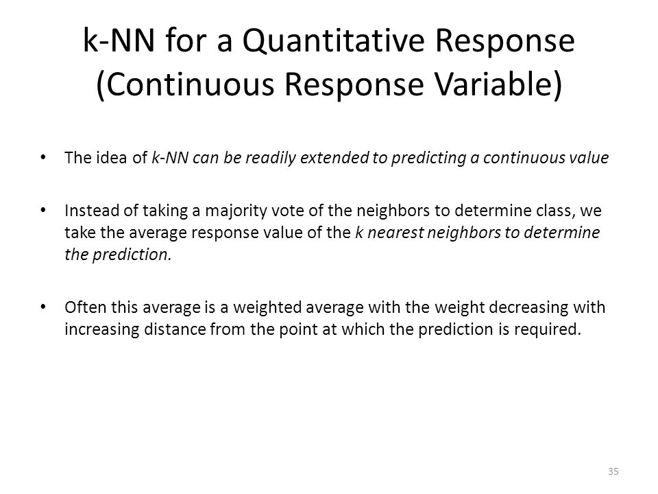 k-NN for a Quantitative Response (Continuous Response Variable)