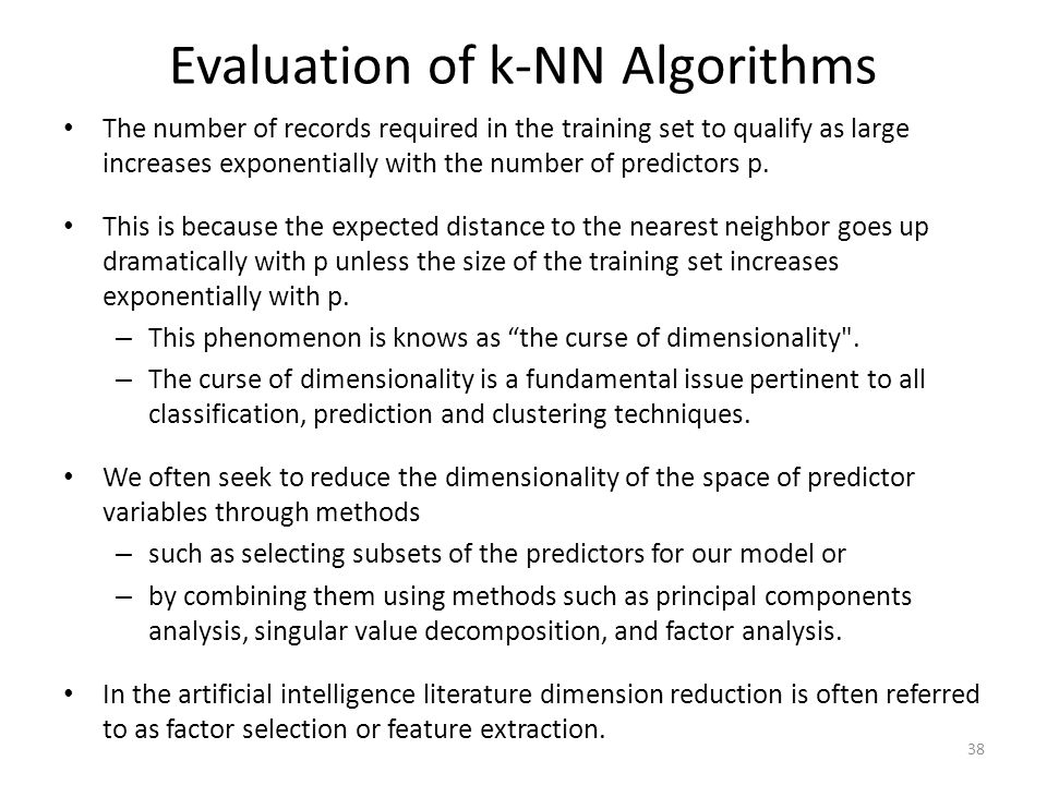 Evaluation of k-NN Algorithms
