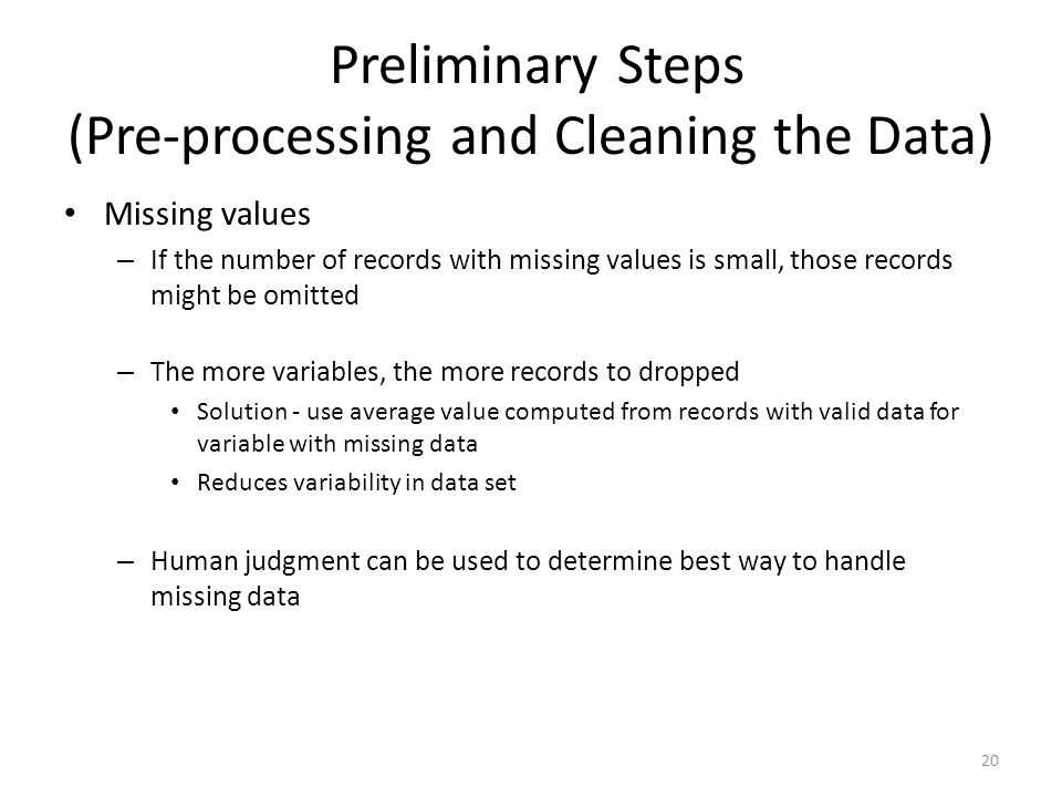 Preliminary Steps (Pre-processing and Cleaning the Data)