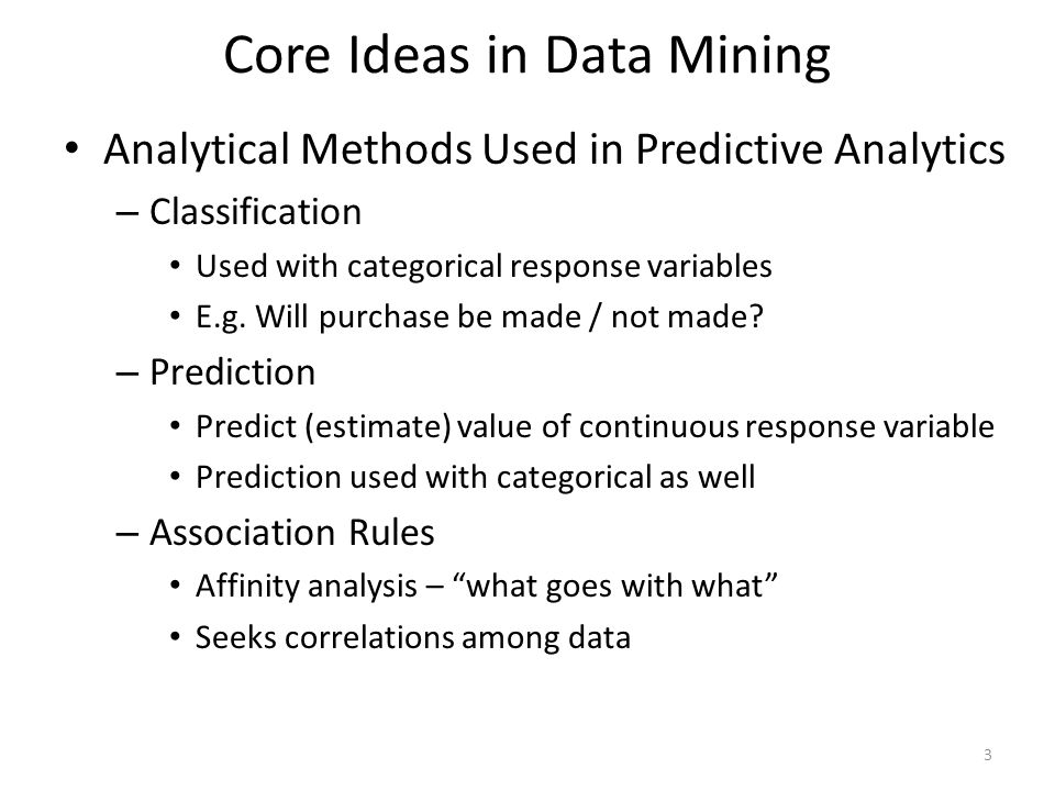 Core Ideas in Data Mining