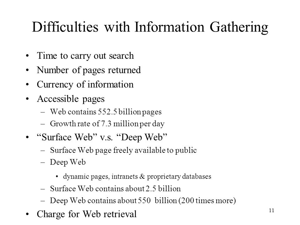 Difficulties with Information Gathering
