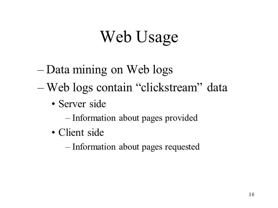 Web Usage Data mining on Web logs Web logs contain clickstream data