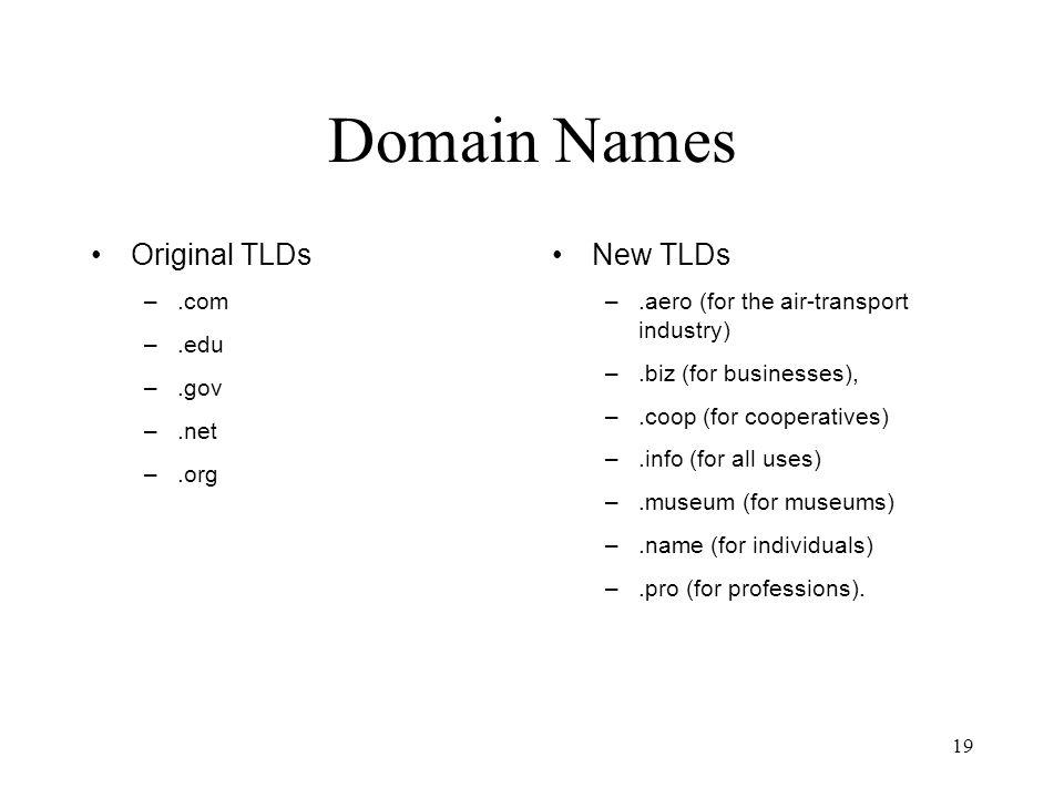 Domain Names Original TLDs New TLDs .com .edu .gov .net .org