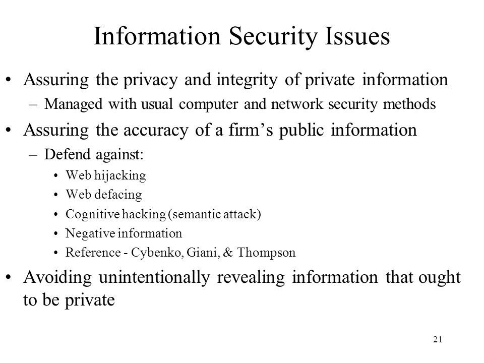 Information Security Issues