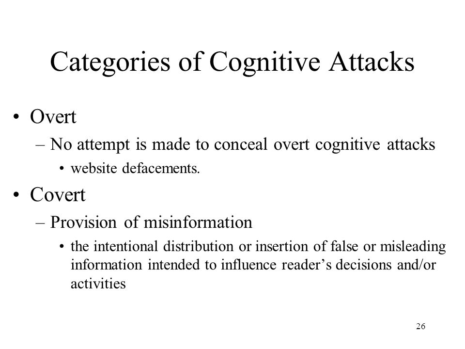 Categories of Cognitive Attacks