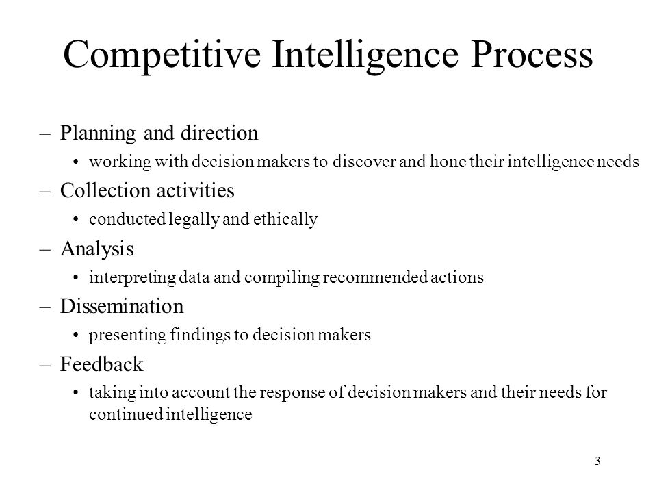 Competitive Intelligence Process