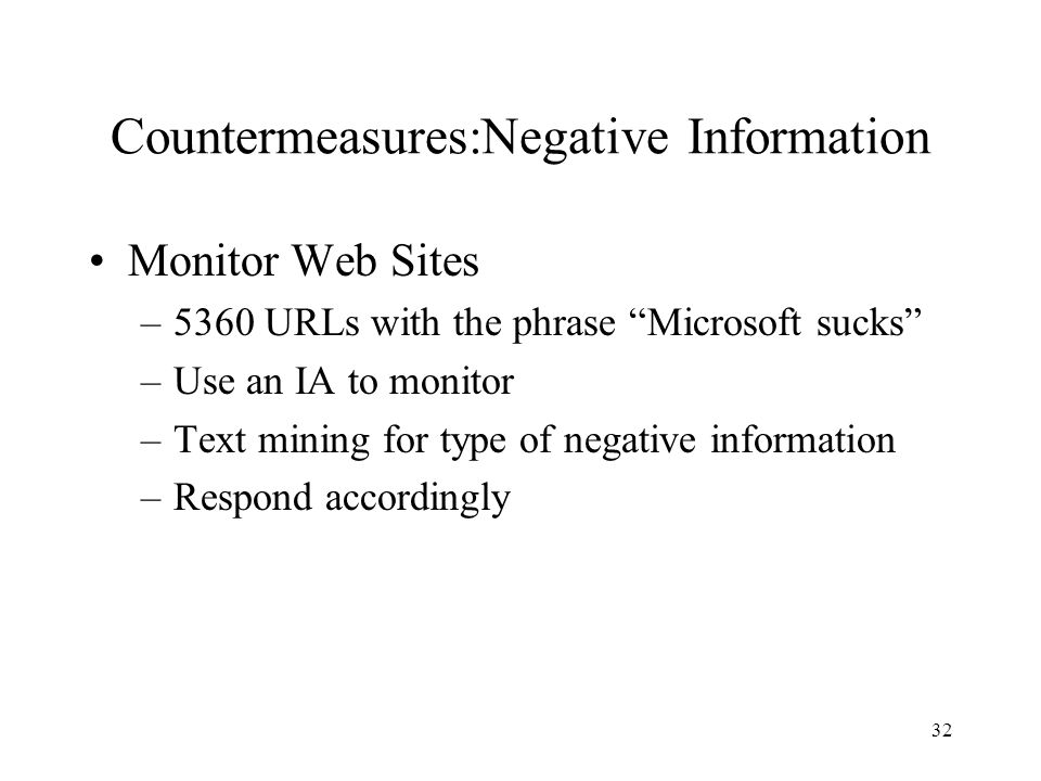 Countermeasures:Negative Information