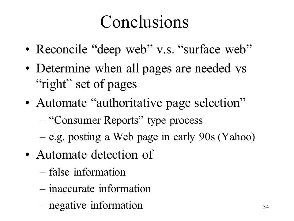 Conclusions Reconcile deep web v.s. surface web