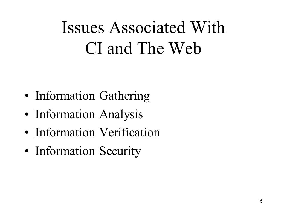 Issues Associated With CI and The Web