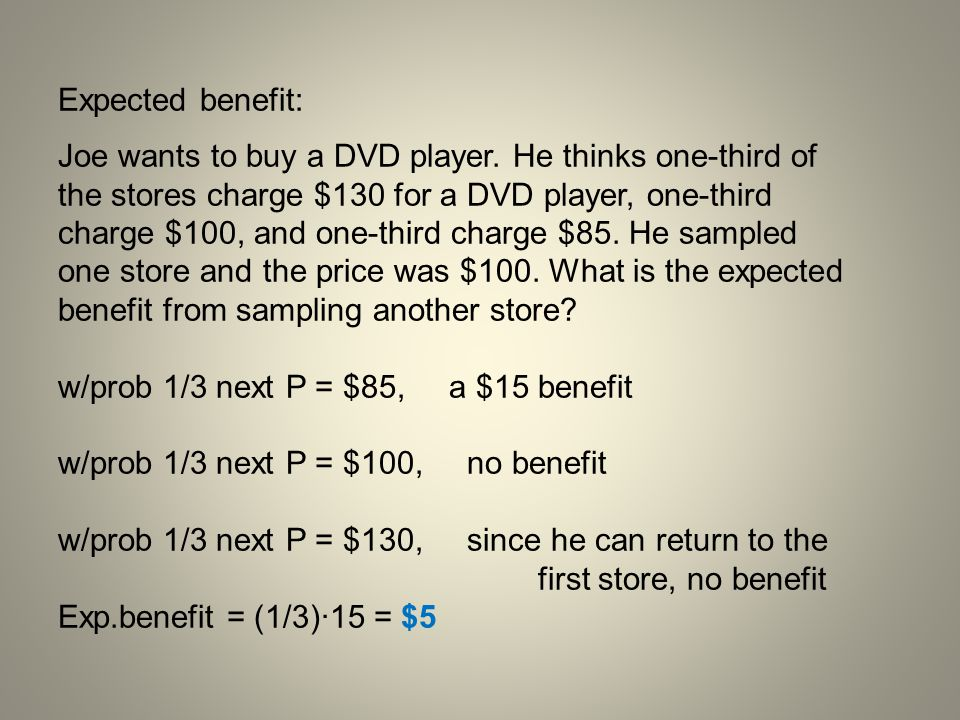 Expected benefit: