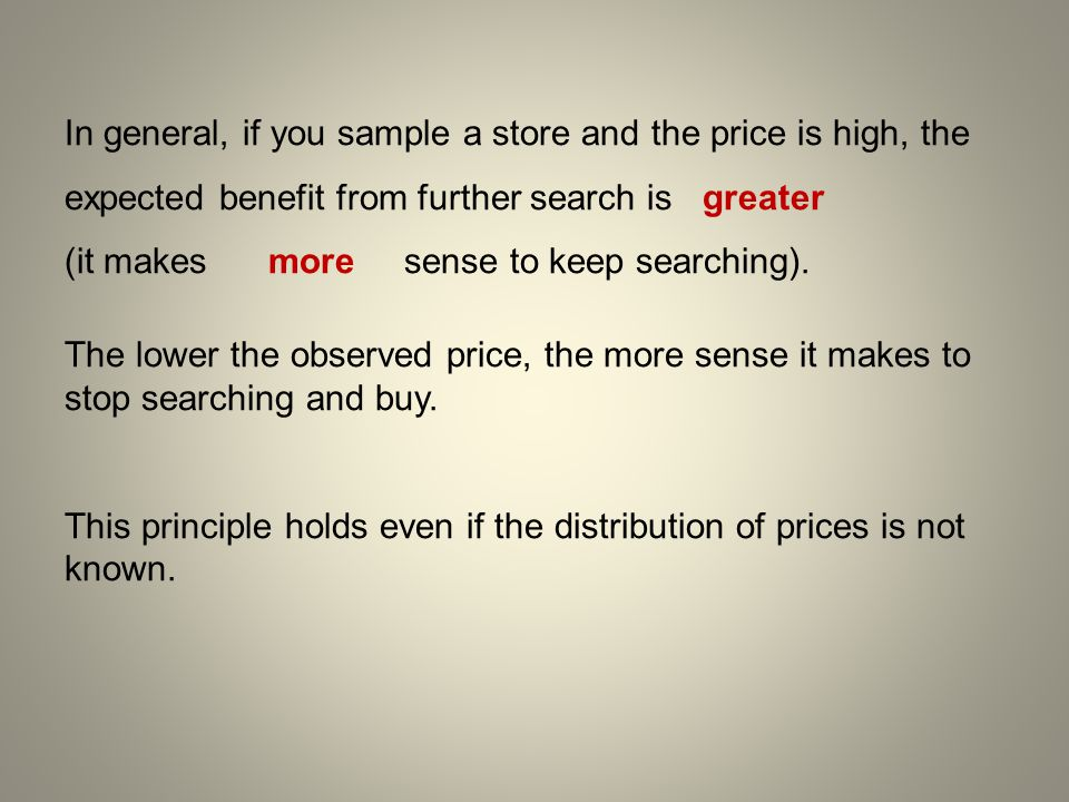 In general, if you sample a store and the price is high, the expected benefit from further search is greater