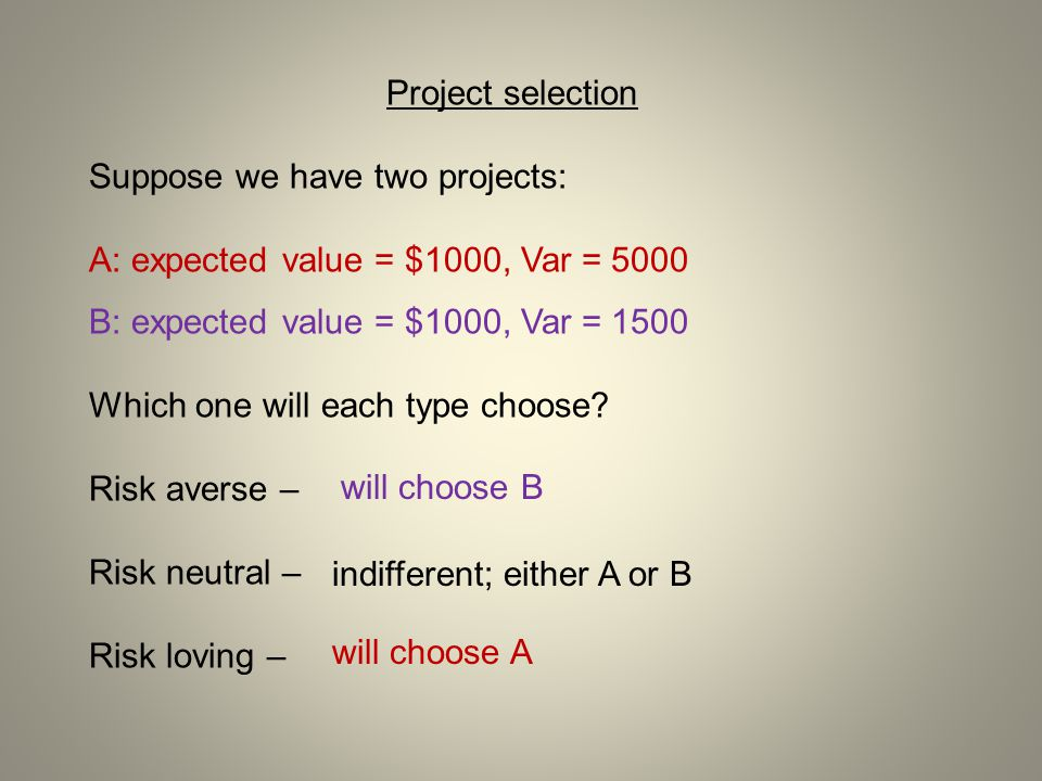 Project selection Suppose we have two projects: A: expected value = $1000, Var = 5000. B: expected value = $1000, Var = 1500.